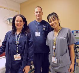 Gamma Knife nursesElana Feldman, RN and Gary Dickson, RN, and medical assistant Valerie Salazar-Burgo
